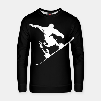Miniatur Snowboarding White on Black Abstract Snow Boarder Cotton sweater, Live Heroes