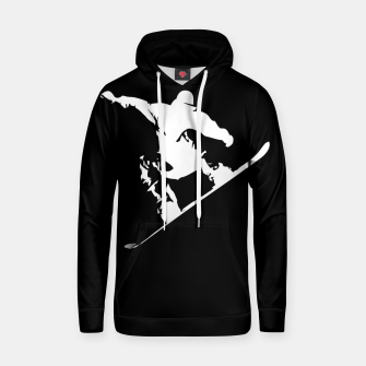 Thumbnail image of Snowboarding White on Black Abstract Snow Boarder Cotton hoodie, Live Heroes