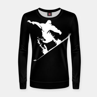 Thumbnail image of Snowboarding White on Black Abstract Snow Boarder Woman cotton sweater, Live Heroes