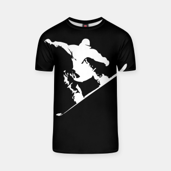 Thumbnail image of Snowboarding White on Black Abstract Snow Boarder T-shirt, Live Heroes