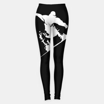 Miniatur Snowboarding White on Black Abstract Snow Boarder Leggings, Live Heroes