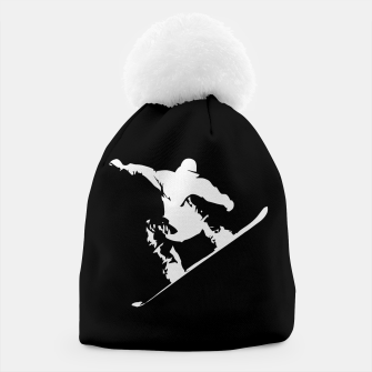 Thumbnail image of Snowboarding White on Black Abstract Snow Boarder Beanie, Live Heroes