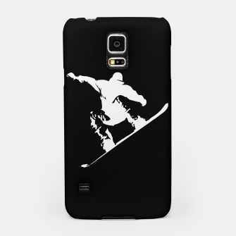 Thumbnail image of Snowboarding White on Black Abstract Snow Boarder Samsung Case, Live Heroes