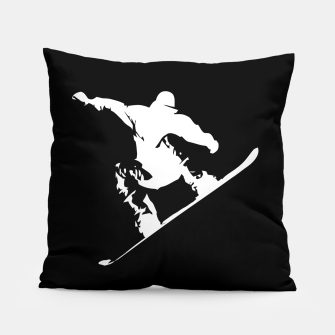 Thumbnail image of Snowboarding White on Black Abstract Snow Boarder Pillow, Live Heroes