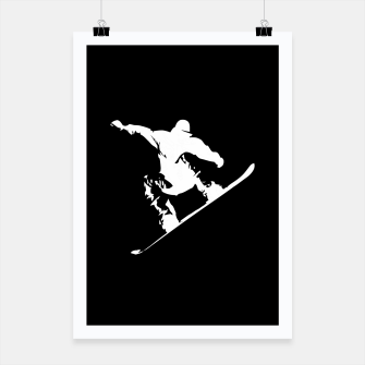 Miniaturka Snowboarding White on Black Abstract Snow Boarder Poster, Live Heroes
