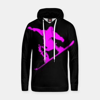 Thumbnail image of Neon Pink on Black Snow Boarder Catching Air Cotton hoodie, Live Heroes