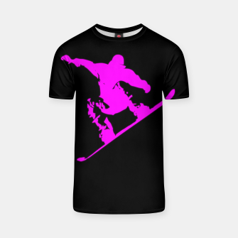 Thumbnail image of Neon Pink on Black Snow Boarder Catching Air T-shirt, Live Heroes