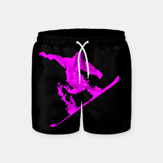 Thumbnail image of Neon Pink on Black Snow Boarder Catching Air Swim Shorts, Live Heroes