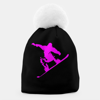 Thumbnail image of Neon Pink on Black Snow Boarder Catching Air Beanie, Live Heroes