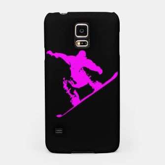 Thumbnail image of Neon Pink on Black Snow Boarder Catching Air Samsung Case, Live Heroes