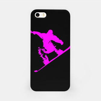 Miniatur Neon Pink on Black Snow Boarder Catching Air iPhone Case, Live Heroes