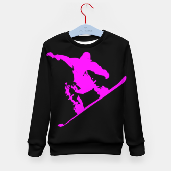 Miniatur Neon Pink on Black Snow Boarder Catching Air Kid's sweater, Live Heroes