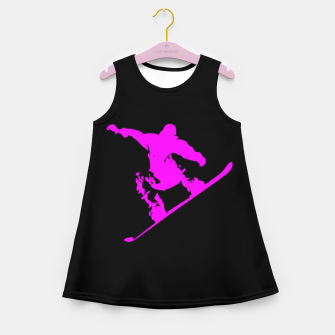 Miniatur Neon Pink on Black Snow Boarder Catching Air Girl's summer dress, Live Heroes