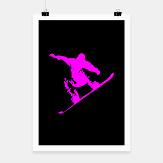 Miniaturka Neon Pink on Black Snow Boarder Catching Air Poster, Live Heroes