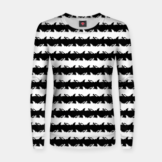 Imagen en miniatura de Black and White Nightmare Beach Stripes Woman cotton sweater, Live Heroes