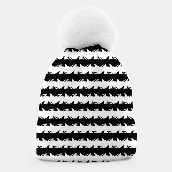 Thumbnail image of Black and White Nightmare Beach Stripes Beanie, Live Heroes