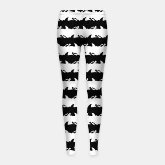 Imagen en miniatura de Black and White Nightmare Beach Stripes Girl's leggings, Live Heroes
