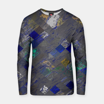 psychedelic geometric pixel square pattern abstract background in blue black yellow Cotton sweater thumbnail image