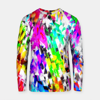 psychedelic geometric triangle polygon pattern abstract background in pink blue purple green yellow Cotton sweater thumbnail image