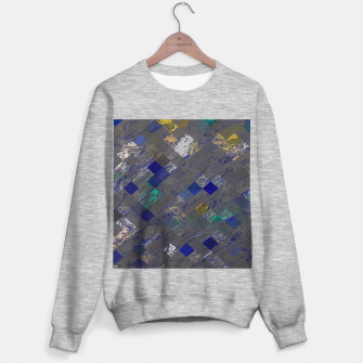 Miniatur psychedelic geometric pixel square pattern abstract background in blue black yellow Sweater regular, Live Heroes