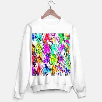 Miniatur psychedelic geometric triangle polygon pattern abstract background in pink blue purple green yellow Sweater regular, Live Heroes