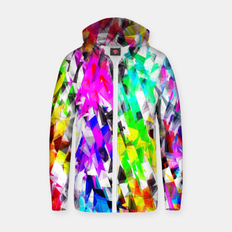 psychedelic geometric triangle polygon pattern abstract background in pink blue purple green yellow Cotton zip up hoodie thumbnail image