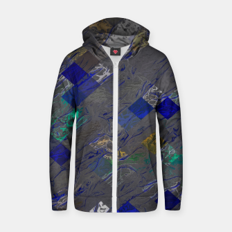 psychedelic geometric pixel square pattern abstract background in blue black yellow Cotton zip up hoodie thumbnail image