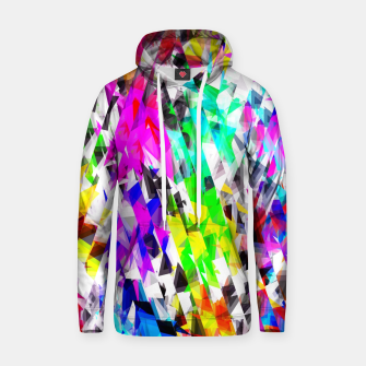 psychedelic geometric triangle polygon pattern abstract background in pink blue purple green yellow Cotton hoodie thumbnail image