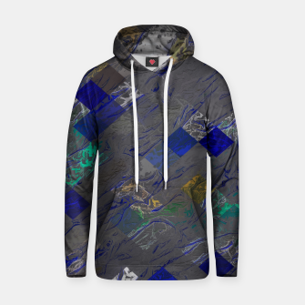 psychedelic geometric pixel square pattern abstract background in blue black yellow Cotton hoodie thumbnail image