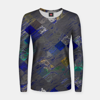 psychedelic geometric pixel square pattern abstract background in blue black yellow Woman cotton sweater thumbnail image