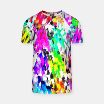 psychedelic geometric triangle polygon pattern abstract background in pink blue purple green yellow T-shirt thumbnail image