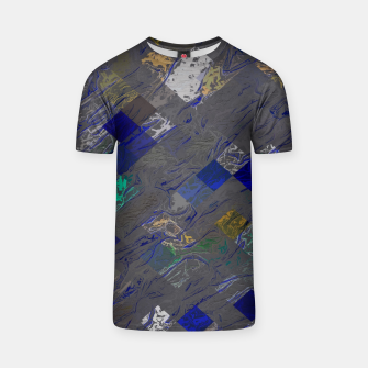 psychedelic geometric pixel square pattern abstract background in blue black yellow T-shirt thumbnail image