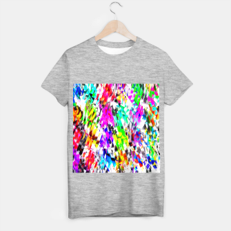 psychedelic geometric triangle polygon pattern abstract background in pink blue purple green yellow T-shirt regular thumbnail image