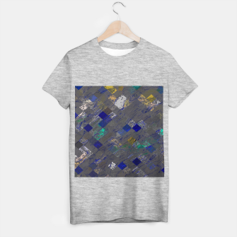 psychedelic geometric pixel square pattern abstract background in blue black yellow T-shirt regular thumbnail image