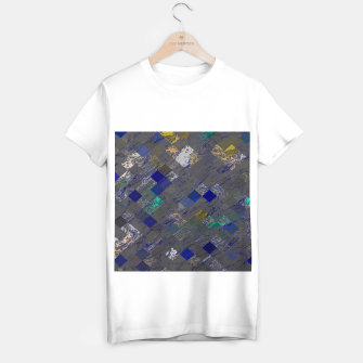 Miniaturka psychedelic geometric pixel square pattern abstract background in blue black yellow T-shirt regular, Live Heroes
