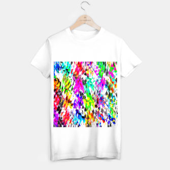 Imagen en miniatura de psychedelic geometric triangle polygon pattern abstract background in pink blue purple green yellow T-shirt regular, Live Heroes