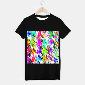Miniatur psychedelic geometric triangle polygon pattern abstract background in pink blue purple green yellow T-shirt regular, Live Heroes