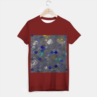 Miniatur psychedelic geometric pixel square pattern abstract background in blue black yellow T-shirt regular, Live Heroes