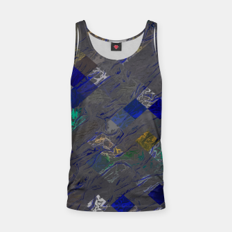 psychedelic geometric pixel square pattern abstract background in blue black yellow Tank Top thumbnail image
