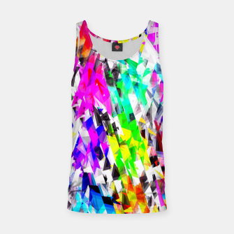 psychedelic geometric triangle polygon pattern abstract background in pink blue purple green yellow Tank Top thumbnail image