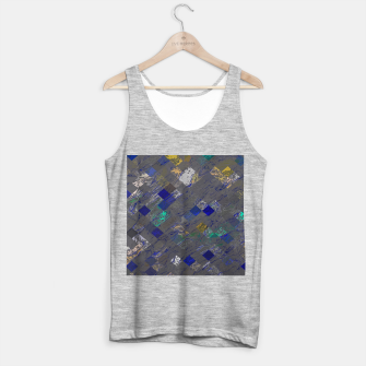 psychedelic geometric pixel square pattern abstract background in blue black yellow Tank Top regular thumbnail image