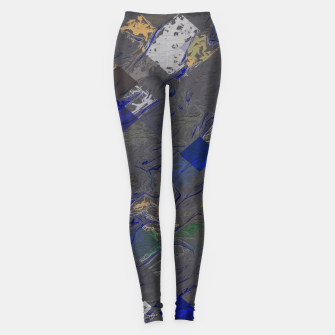 psychedelic geometric pixel square pattern abstract background in blue black yellow Leggings thumbnail image