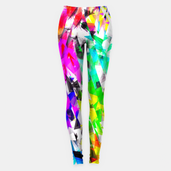psychedelic geometric triangle polygon pattern abstract background in pink blue purple green yellow Leggings thumbnail image