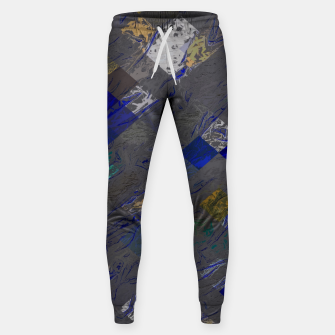 psychedelic geometric pixel square pattern abstract background in blue black yellow Cotton sweatpants thumbnail image