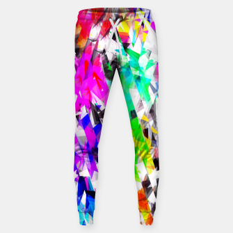 psychedelic geometric triangle polygon pattern abstract background in pink blue purple green yellow Cotton sweatpants thumbnail image
