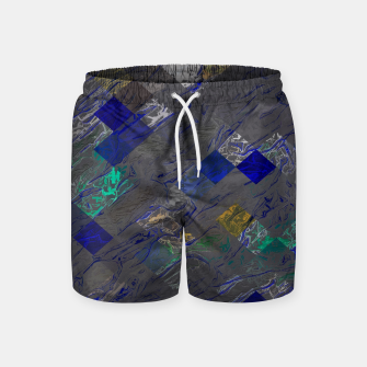 psychedelic geometric pixel square pattern abstract background in blue black yellow Swim Shorts thumbnail image