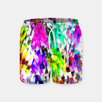 psychedelic geometric triangle polygon pattern abstract background in pink blue purple green yellow Swim Shorts thumbnail image