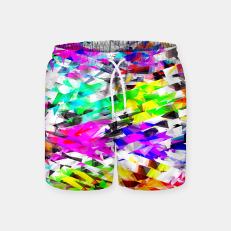 Miniaturka psychedelic geometric triangle polygon pattern abstract background in pink blue purple green yellow Swim Shorts, Live Heroes