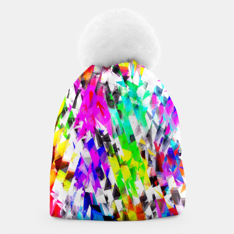 psychedelic geometric triangle polygon pattern abstract background in pink blue purple green yellow Beanie thumbnail image