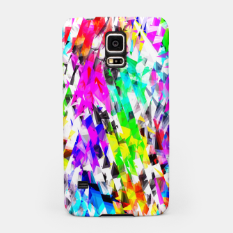 psychedelic geometric triangle polygon pattern abstract background in pink blue purple green yellow Samsung Case thumbnail image